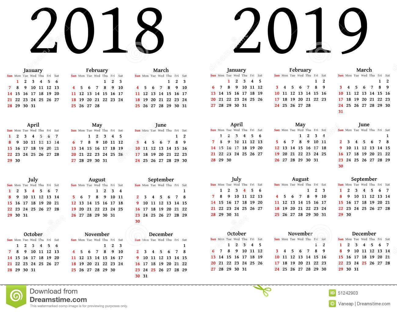 Le calendrier 2018 2019!